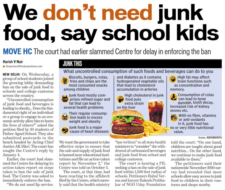 Junk food to be banned in Indian Schools